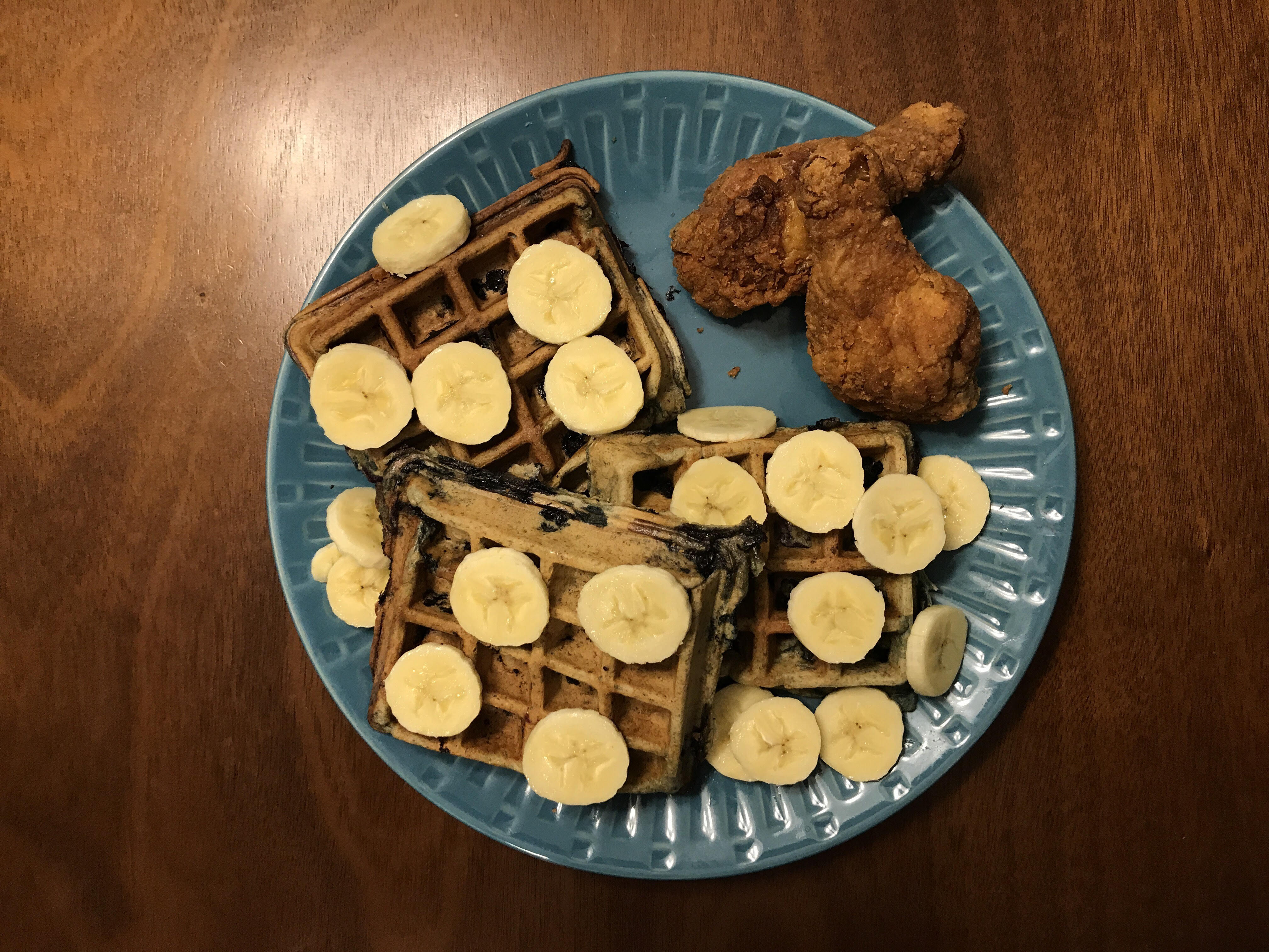 Looter Recipe: Banana and BLUTH-berry Chicken & Waffles!
